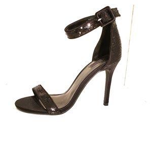 Forever 21 black sequin ankle strap heels